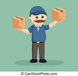 fat delivery man with two boxes