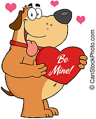 Dog Holding Up A Red Heart - Fat Dog Holding Up A Red Heart...