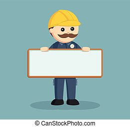 fat electrician with empty board sign