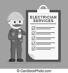 Fat electrician with giant clipboard