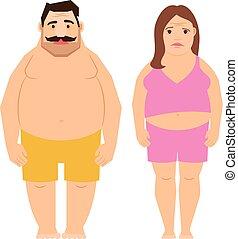 Fat exercising man and woman