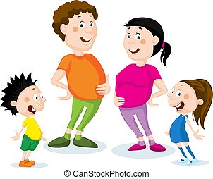 Fat family cartoon flat design illustration isolated on white
