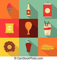 Fat fast food icons set, flat style