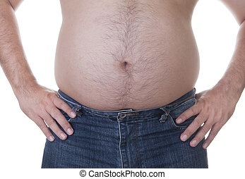 fat - Fat man with a big belly. Diet