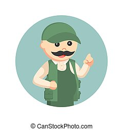 fat fisherman with pointing finger in circle background