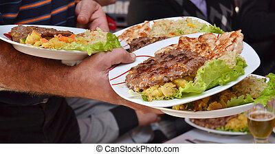 Fat food in restaurant