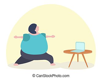 Fat funny caucasian woman practicing yoga watching online lesson on laptop