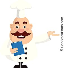 Fat Funny Chef - Holding a Book and Presenting