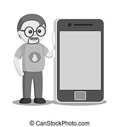 Fat geek with big smartphone