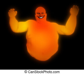 Fat Ghost  - A very fat floating male ghost for Halloween.