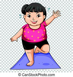 Fat girl doing yoga on mat illustration