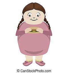 Fat girl eating a cheese burger