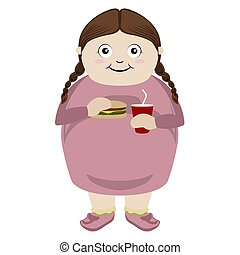 Fat girl eating a cheese burger with a soda