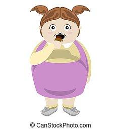 Fat girl eating a chocolate bar