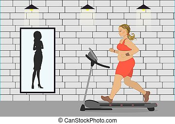 fat girl on a treadmill and silhouette of a thin woman in a mirror