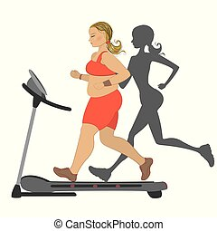 Fat girl running on a treadmill with her thin shadow