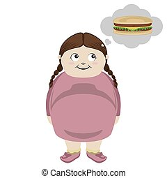 Fat girl thinking of a cheese burger