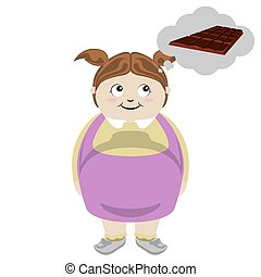Fat girl thinking of a chocolate bar