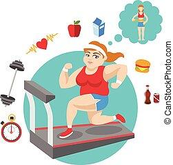 Fat girl. Vector sport flat illustration