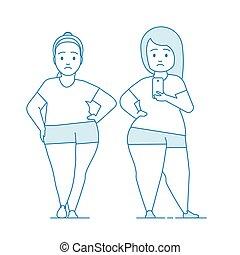 Fat girls in sportswear makes selfie.
