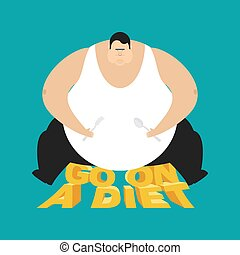 Fat guy go on a diet. Glutton Thick man. fatso vector illustratio