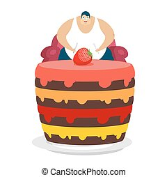 Fat guy is sitting on chair and cake. Glutton Thick man and pie. fatso vector illustration