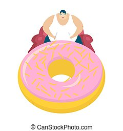 Fat guy is sitting on chair and donut. Glutton Thick man and cake. fatso vector illustration