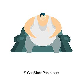 Fat guy is sitting on chair. Glutton Thick man. fatso vector illustration