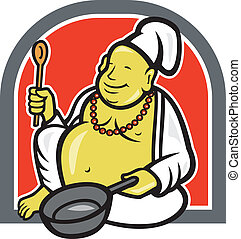 Fat Happy Buddha Chef Cook Cartoon