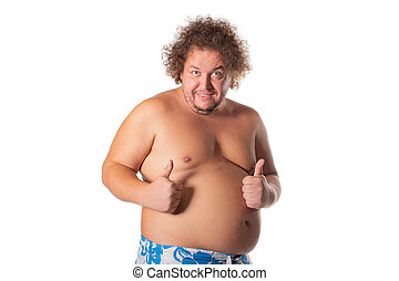 Fat happy man, pleased with himself. Weight loss