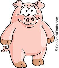 Fat happy pink cartoon pig