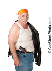 Fat hoodlum with pistol and orange bandana