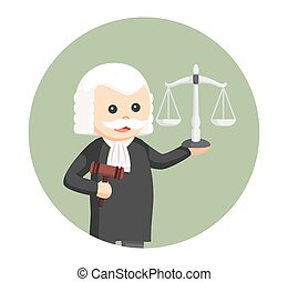 fat judge with gavel and scale in circle background