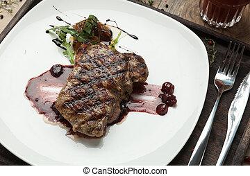 Fat, juicy steak beef thick edge, grain-fed , wet binning. ...