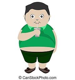 Fat kid drinking a soda