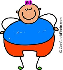 fat kid - happy little fat boy - toddler art series