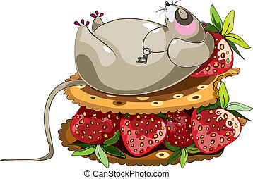 fat lazy mouse - lazy sleeping mouse cartoon character lying...