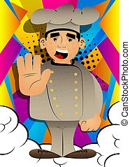 Fat male cartoon chef in uniform showing deny or refuse hand gesture. Vector illustration.