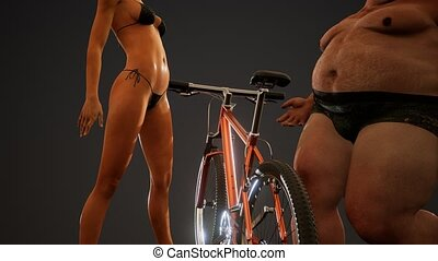 fat man and sexy woman posing in studio