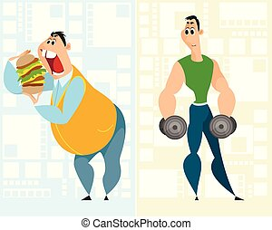 Fat man and sportsman