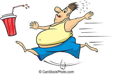 fat man chasing a calorie beverage - desire can make us fat...