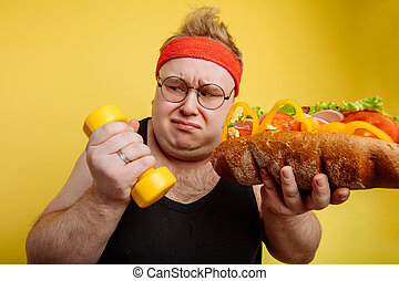 Fat man choise between sport and fastfood - Fat funny man ...