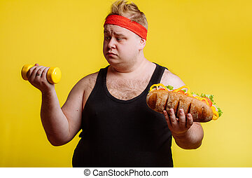 Fat man choise between sport and fastfood - fat funny Man is...