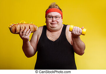 Fat man choise between sport and fastfood - Fat sportsman ...