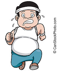 Fat man - Vector illustration of fat man Jogging