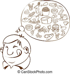 Fat Man Dreaming for Food - Vector illustration of a fat man...