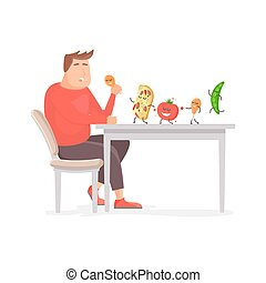 Fat man eating a big chicken leg in flat style. Food dances on the table