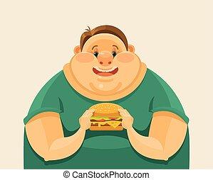 Fat man eating a big hamburger