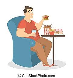 Fat man eating.