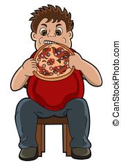 Fat man eating pizza cartoon